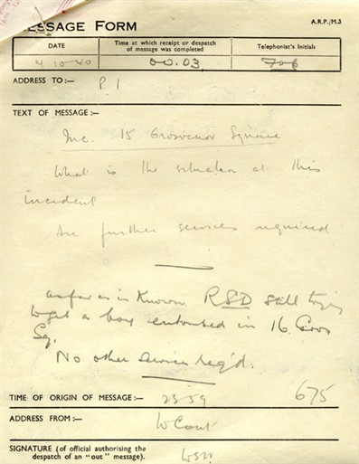 Photo:ARP Message Form, 15 Grosvenor Square, 14 October 1940